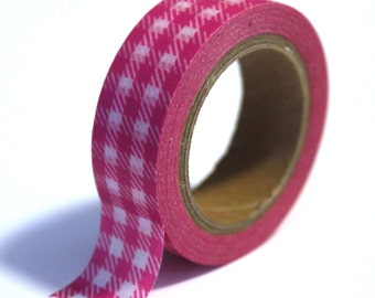 SALE Washi Tape - Pink Gingham Plaid - 15mm x 10m - TP77