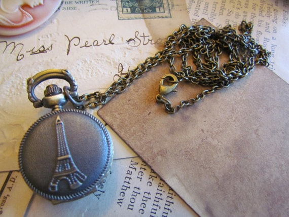 1pc Pocket Watch Antique Bronze Eiffel Tower 21 x 13mm - Ships Immediately from California - PW02