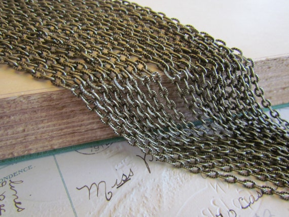 10M Bronze Chain Textured Cable Link 5x3mm 32ft - Ships IMMEDIATELY  from California - CH03
