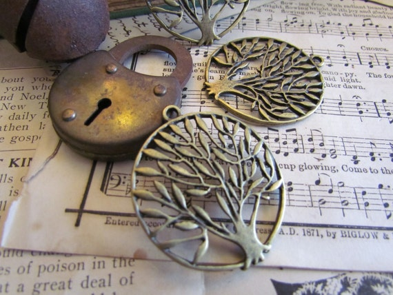 Antique Bronze Tree of Life Charm 42x37mm  3pcs - Ships Immediately from California - BC118