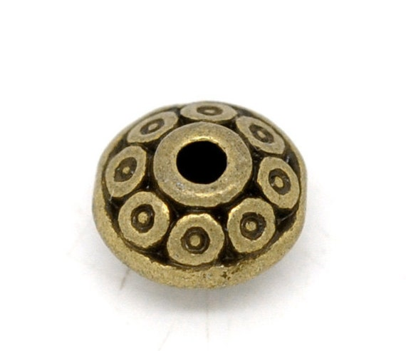 Bronze Spacer Beads - Antique Bronze - Round - Dot Pattern - 6x4mm - 25pcs - Ships IMMEDIATELY from California - B08