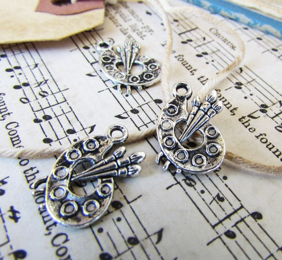 Artist Palette Charms Antique Silver 17x12mm 10pcs  - Ships IMMEDIATELY from California - SC06