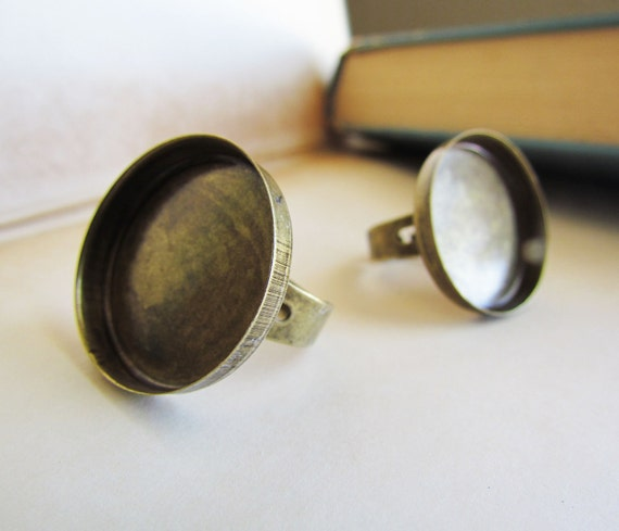 3pcs Antique Bronze Ring Base Settings (Holds 25mm) (adjustable) - Ships Immediately from California - A05