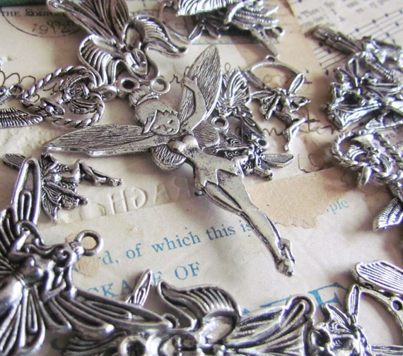 20pcs Angel Charms with some Fairies  Silver 14-52mm - Ships Immediately from California - SC18