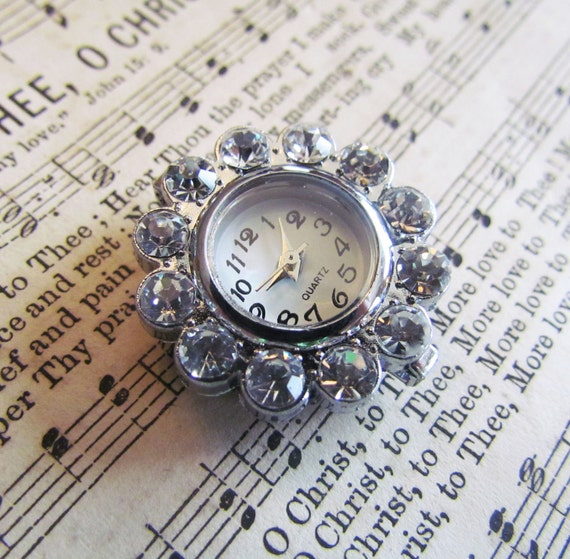 1pc Silver Clear Rhinestone Flower Watch Face 28x26mm - Ships Immediately from California - A09
