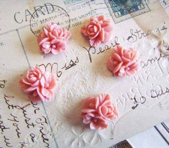 5 Resin Flower Cabochons Cabachons in Pink (Jocelyn Collection) 16x16mm - Ships IMMEDIATELY from California - C12P