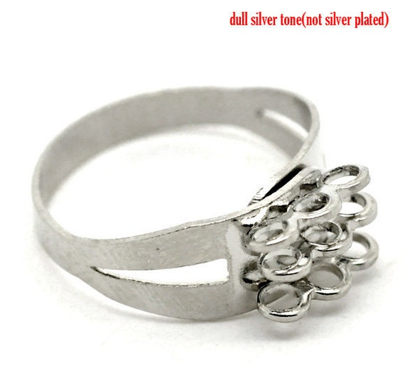 8 Silver Rings with 9 Loops - Antique Silver - 18.3mm - Ships IMMEDIATELY from California - A15
