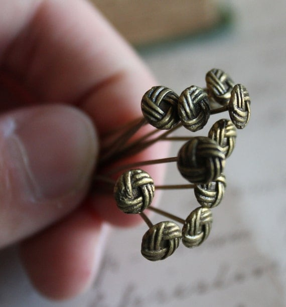 10pcs Antique Bronze Woven Button Head Pins 2 inch 55x0.7mm - Ships Immediately from California - F13