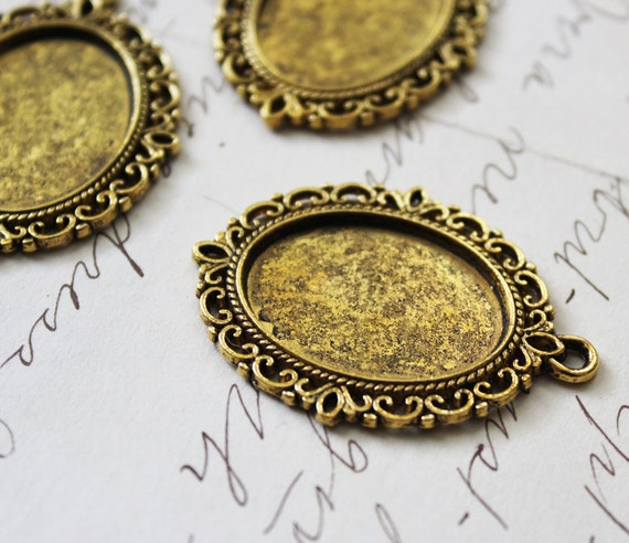 Gold Cameo Pendants - Cameo Settings - 39x29mm - Holds 25x18mm - 3pcs - Ships IMMEDIATELY from California - GC09