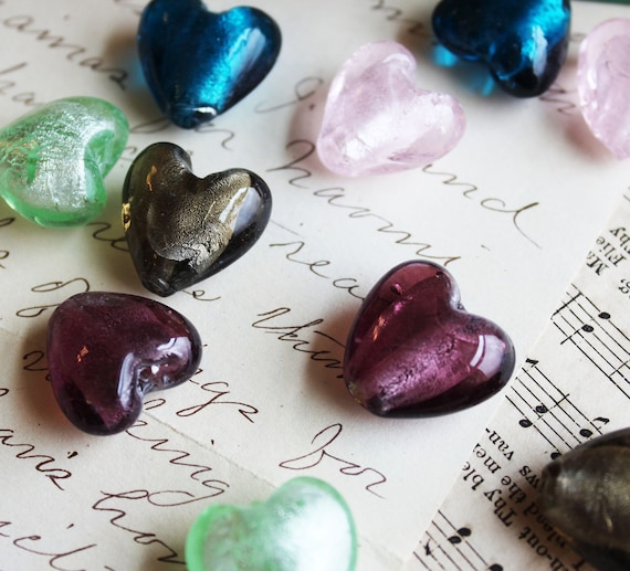 Lampwork Glass Foil Heart Beads 20x20mm Assorted 5pcs - Ships IMMEDIATELY from California - B34
