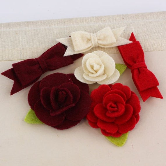 NEW 2012  Marcelle in Leading Lady- Cute Felt Roses and Bows - Prima - 557713