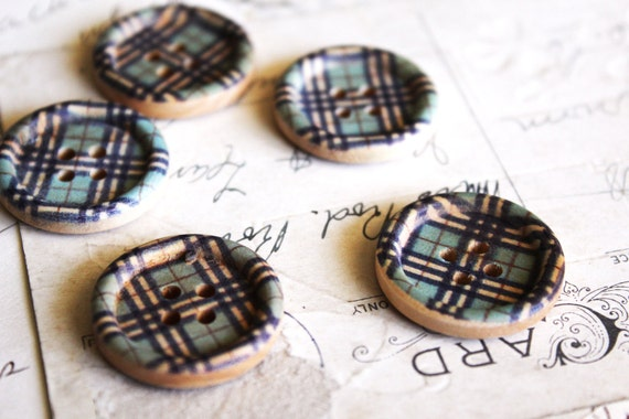 120 SALE Painted Wood Buttons - Plaid - 4 Holes - 25mm - Ships IMMEDIATELY from California - W15