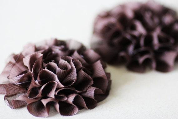 SALE Fabric Flowers Chocolate Brown Fluffly Ruffled Chiffon 4pcs - 3.5 inch - SFH-0003-CH