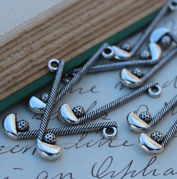 10 pcs Antique Silver Golf Club/Ball Charms 32x7mm - Ships Immediately from California - SC152
