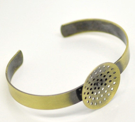 SALE 2 Bronze Bracelet Blanks With Hole Setting - 17cm - Ships IMMEDIATELY  from California - A45