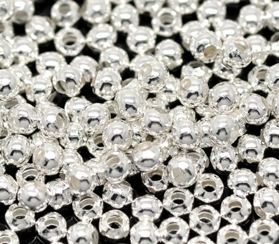 1000 Silver Round Spacers Beads - WHOLESALE - Smooth - 3mm - Ships IMMEDIATELY  from California - B57a