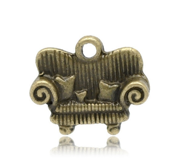 Sofa Charms Bronze Antique 16x14mm - Ships IMMEDIATELY  from California - BC326