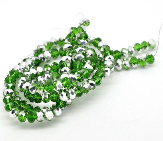 72 Green Beads with Silver - Rondelle - Crystal Glass - Faceted  - 8mm - 1 Strand - Ships IMMEDIATELY from California - B69