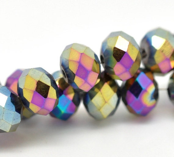 360 Rondelle Beads - WHOLESALE - 8mm - Multicolor Faceted Crystals - Ships IMMEDIATELY from California - B74a