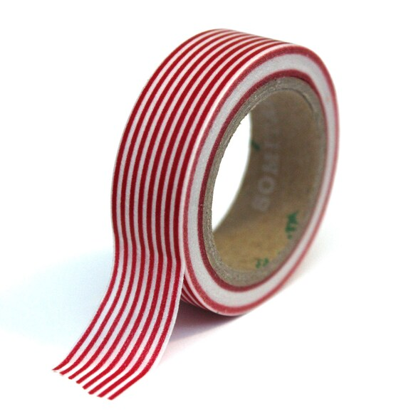 Washi Tape - Red and White Horizontal Stripes - 15mm x 10m - TP04
