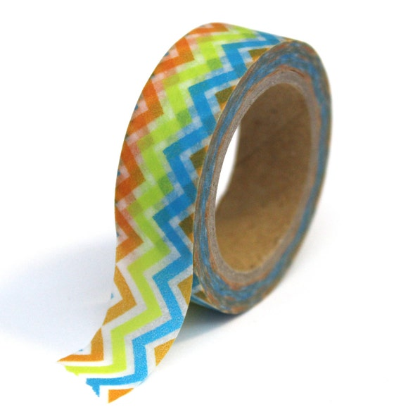 Washi Tape - Blue Green Orange Chevron Zig-Zag - 15mm x 10m - TP11
