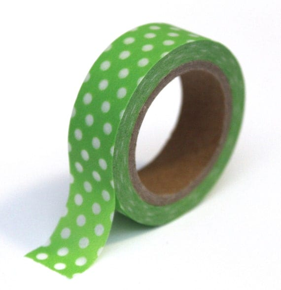 Japanese Washi Tape - Green and White Polka Dot - 15mm x 10m - TP32