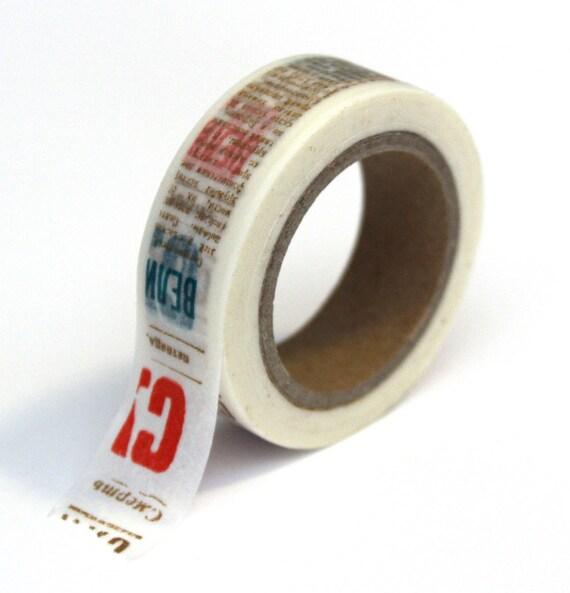 Washi Tape - Brown Red Teal Newsprint - 15mm x 10m - TP50