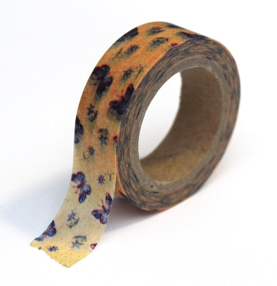 Washi Tape Yellow Floral Butterfly Pattern - 15mm x 10m - TP55