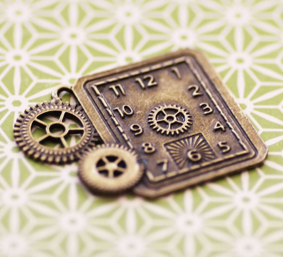 Bronze Clock Charms - Antique Bronze - Clock Gears - 50x40mm - 2pcs - Ships Immediately from California - BC08