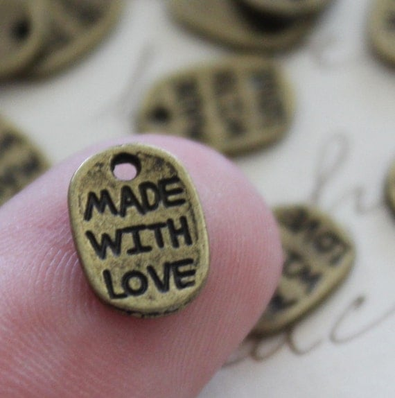 50 Made with Love Charms - Antique Bronze - 11x8mm  - Ships IMMEDIATELY  from California - BC342