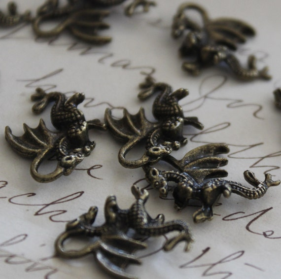 Dragon Charms WHOLESALE Antique Bronze Winged Charms  21x14mm 50pcs - Ships Immediately from California - BC 344a