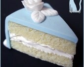 Polymer Clay Blue Fondant Cake with White Rose Pendant