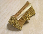 Purse Pill Box Gold Mesh Ornate Beautiful