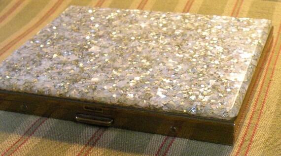 Vintage Cigarette Case Mainline 5th Ave Lucite Confetti Compact Case