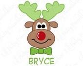 Holiday Christmas Shirt DIY Iron On Transfer for Boys - Custom Personalized Name Reindeer