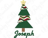 Christmas Shirt DIY Iron On Transfer for Boys - Custom Personalized Modern Christmas Tree with Star Topper