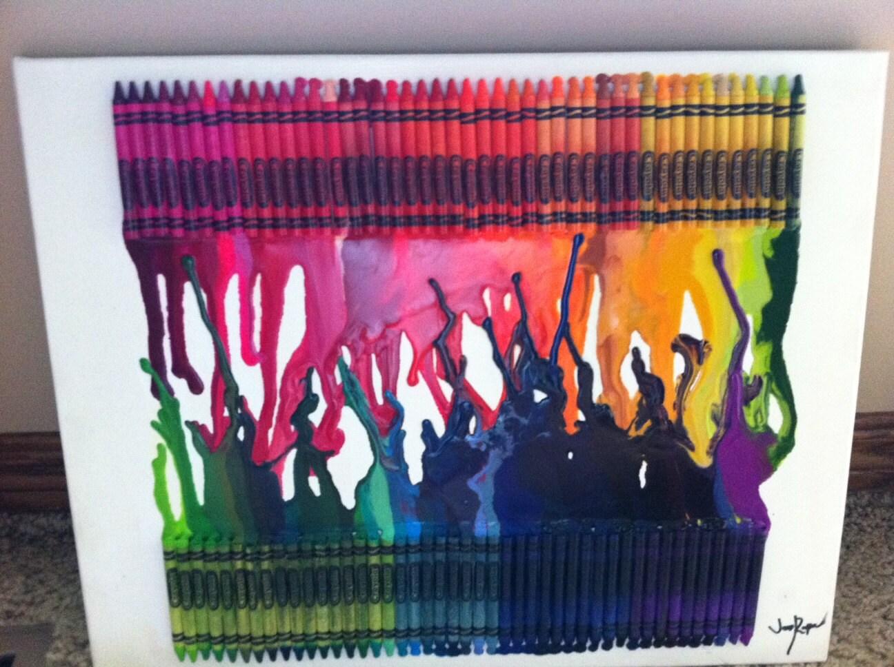 Rainbow Crayon Drip Artwork 2 Rows