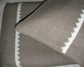 Linen Duvet Cover and Two Pillowcases Gray Grey