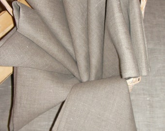 Linen NAPKINs set of 8 Natural Organic Flax Grey Gray ECO Friendly
