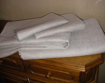 Flax Bed Linen Set... Linen Duvet Cover and Two Pillowcases Twin Grey Stonewashed Eco - Custom size