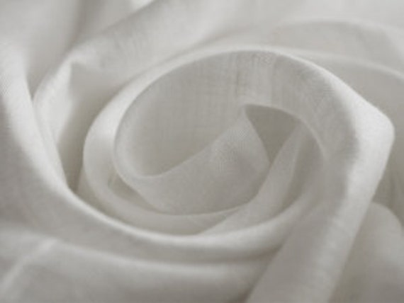 """Pure Linen Fabric White Flax Super Width 87"""" ECO - half yard. Reserved"""