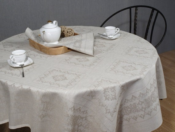 "Linen Tablecloth Grey Gray Flax 59""x59""  ECO"