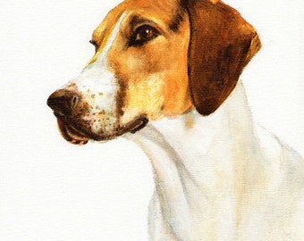Original Oil DOG Portrait Painting FOXHOUND Art from Artist