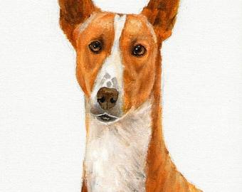 Original DOG Oil Portrait Painting PODENGO PORTUGUES Artwork from Artist