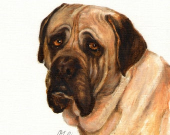 Original Oil DOG Portrait Painting BULLMASTIFF Artwork Art from Artist