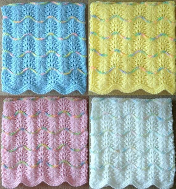 NEW Handmade Knit Crochet BABY Afghan Blanket Throw Wave