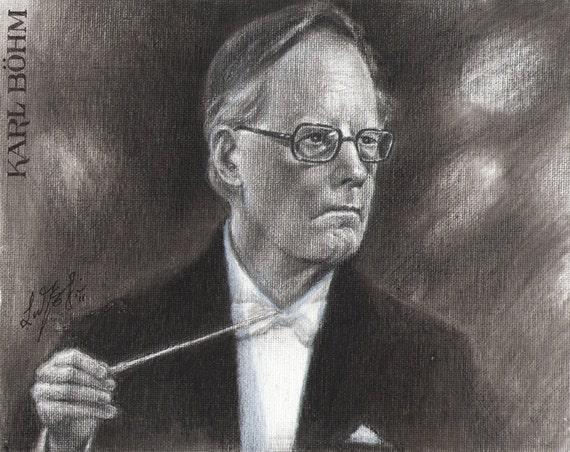Original Charcoal Portrait Painting KARL BOHM Conductor Musician