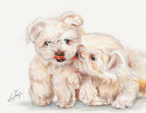 Original DOG Oil Portrait Painting MALTESE PUPPIES Artwork from Artist