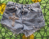 Pyramid Studded High Waisted Blue Vintage Cross Levi Denim Shorts