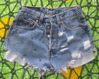 Star Studded High Waisted Blue Vintage Levi Denim Shorts